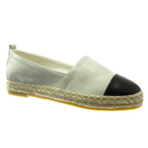 Angkorly - Chaussure Mode Espadrille Mocassin bi-matière Femme Corde Talon Plat 2 CM - Gris - LX-126 T 39