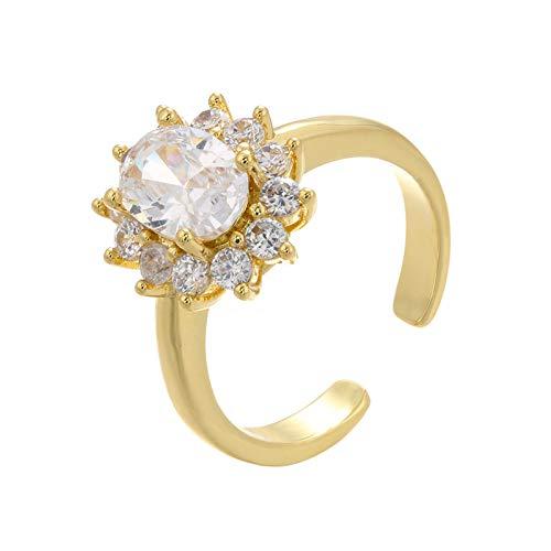 QWKLNRA Anillos Mujer Creado Cristal Blanco Diamante De Imitación Personalizado Color Dorado Boda Dedo Cristal Exquisito Anillo Único Casual Joyas para Mujeres