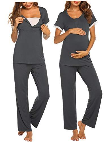 MAXMODA Umstandspyjama Stillfunktion Stillschlafanzug Umstandstop Schwangerschaftsshirt