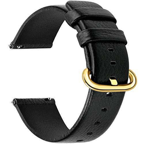 Fullmosa 12 Colori per Cinturini di Ricambio, Uli Pelle Cinturino/Cinturini/Braccialetto/Band/Strap di Ricambio/Sostituzione per Watch/Orologio 18mm 20mm 22mm 24mm, O-Nero 24mm