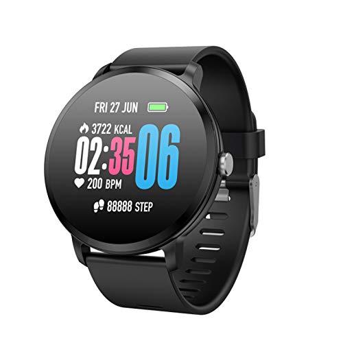 Reloj inteligente para mujer, IP68 resistente al agua Smartwatch teléfonos rastreador de actividad con pantalla táctil a color completo monitor de ritmo cardíaco podómetro monitor de sueño negro