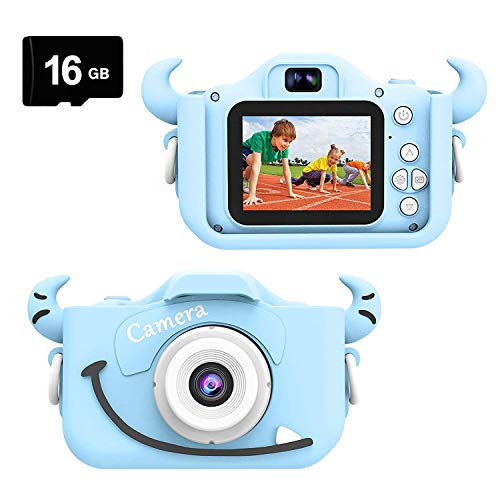 Kids Camera for Girls and Boys, Digital Dual Camera 2.0 Inches Screen 20.0MP Video Camcorder,Rechargeable Anti-Drop Children Selfie Cartoon Camera Toys for Gift - 16GB Memory Card Included(Blue)