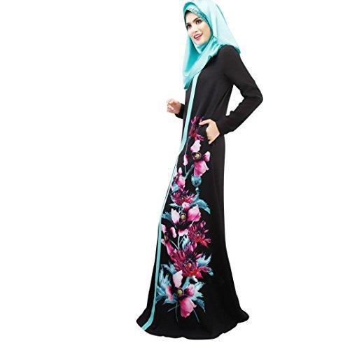Longra Abaya Dubai Kleider Damen islamishen Kleid Islamische Kleidung muslimische Kaftan Robe Gewand Frauen Langarm Blumekleid Maxikleider Schal Lange Kopftuch (2XL, Black)