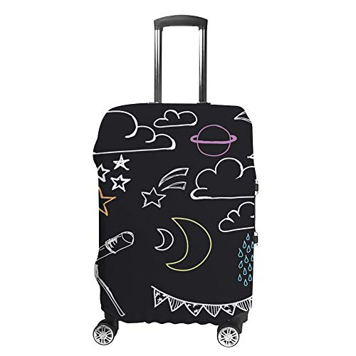 CHEHONG Suitcase Cover Luggage Cover Astronomy Images Black Travel Trolley Case Protective Washable Polyester Fiber Elastic Dustproof Fits 18-20 Inch