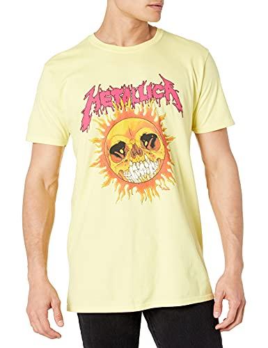 Metallica Men's Fire Sun T-Shirt, Yellow, S to XXL