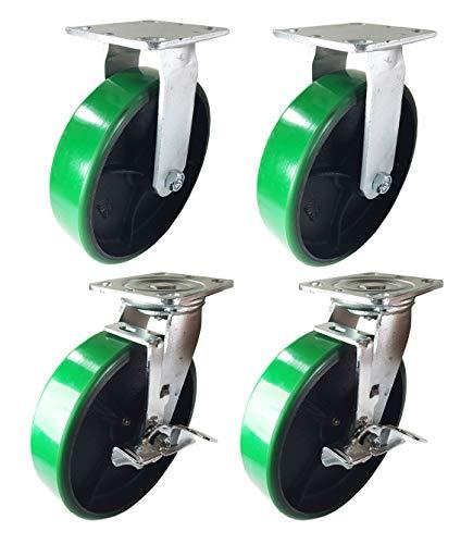4 Heavy Duty Caster 8' Polyurethane Cast Iron Wheels Rigid Swivel & Brake Green (8' : 2R + 2SB)
