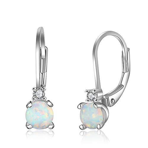 YAZILIND 925 sterling silver hoop earrings Opal Earring Women Birthday Jewellery Gift