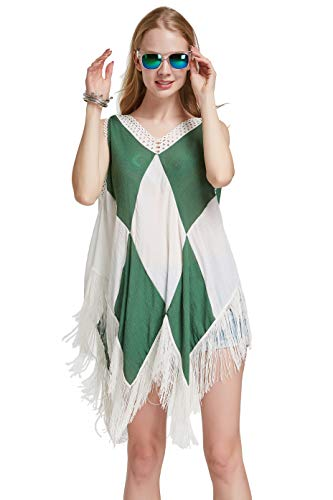 Costyleen Women Beach Dress Tassels Swimsuit Stitching Bikini Swimwear Cover Up Dark Green White M