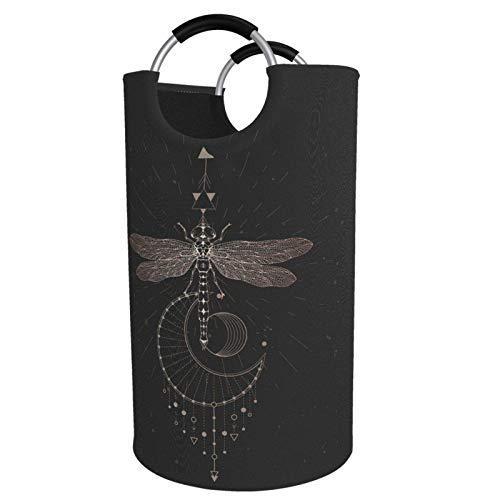 Cesto para la colada extragrande de 82 l alto, libélula y símbolo geométrico sagrado plegable con asas de aluminio, cesta grande para la ropa de niños, cesta de almacenamiento redonda para dormitorio