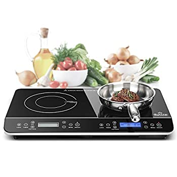 Duxtop LCD Portable Double Induction Cooktop 1800W Digital Electric Countertop Burner Sensor Touch Stove 9620LS/BT-350DZ