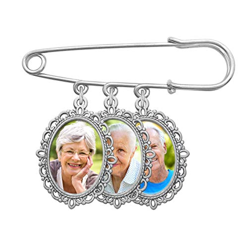 Wedding Boutonniere Photo Charm Bouquet Pin Lapel Mother of The Bride Groom with Photo Resizing Software