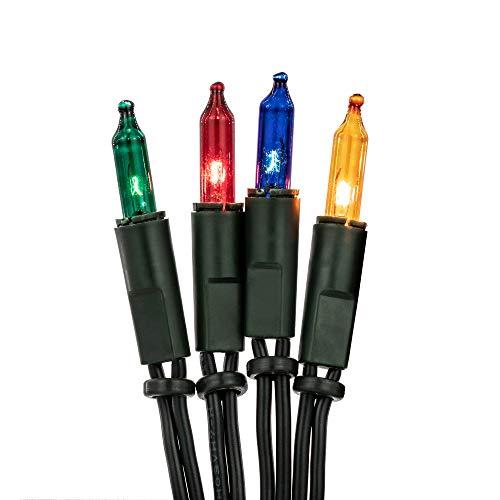 Hellum 832075 Lichterkette 20 Pisellokerzen bunt / 5,85 m/innen/Zuleitung 2x1,5 m grün