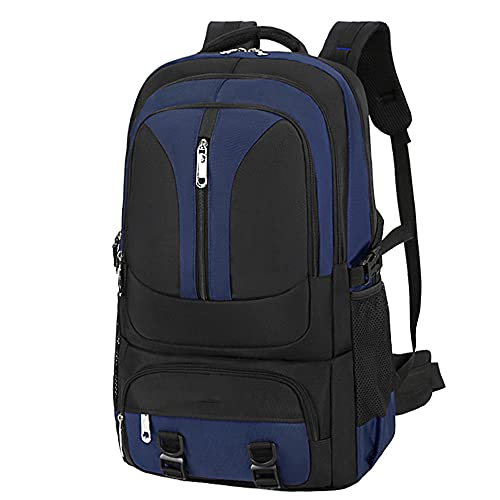 Mochila de viaje de gran capacidad, 65 L, impermeable, ligera, mochila multifuncional para camping, senderismo, deportes al aire libre, azul oscuro, 65 cm (L)
