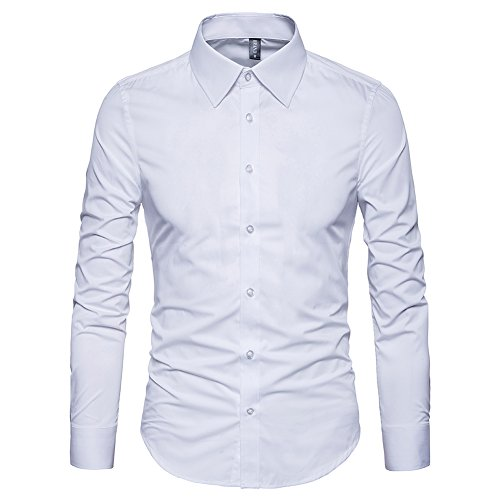 Manwan walk Men's Slim Fit Business Casual Cotton Long Sleeves Solid Button Down Dress Shirts (Small, White)