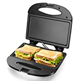 Aigostar Sandwich Maker with Non-stick Deep Grid Surface for Egg, Ham, Steaks Compact Electric Grill Black, Roy