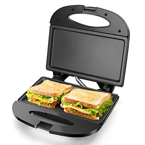 Aigostar Sandwich Maker with Nonstick Deep Grid Surface for Egg Ham Steaks Compact Electric Grill Black Roy