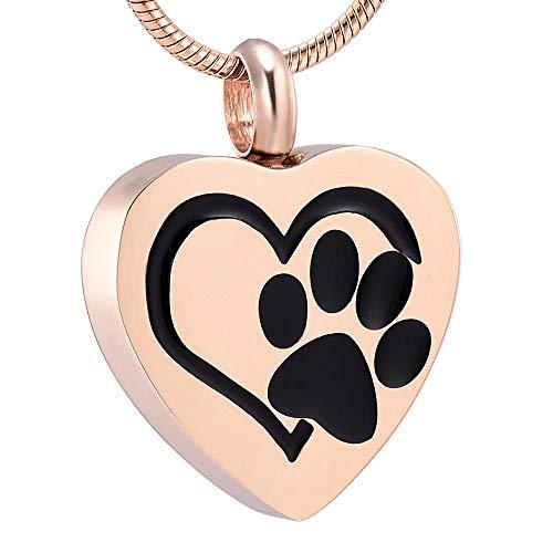 kliy UrneAnhänger Hund/Katze Pfote Laser Herz Urne Halskette Halten Asche Memorial Edelstahl Feuerbestattung Anhänger Für Pet @ Halskette