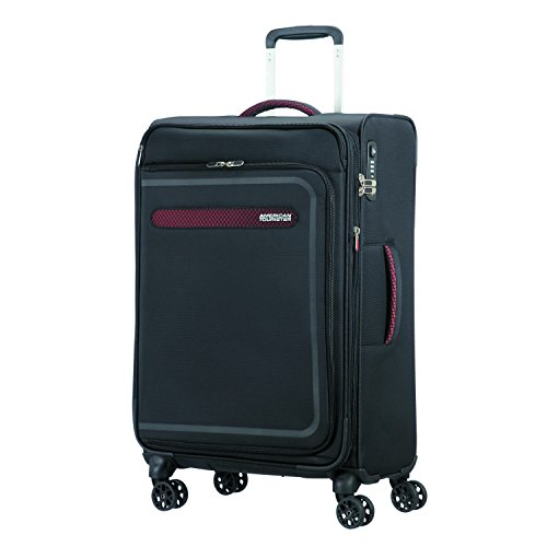 American Tourister Airbeat - Spinner 68/25 Expandable Equipaje de Mano, 68 cm, 75 Liters, Negro (Universe Black)