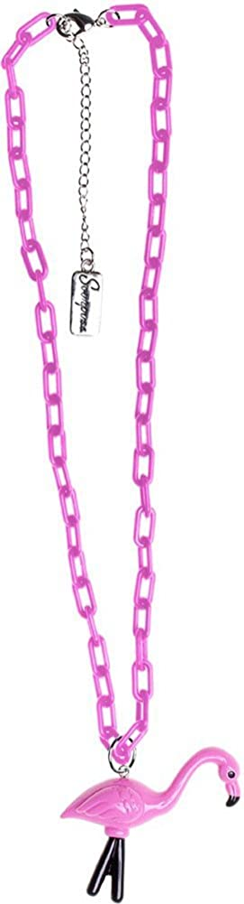 Chunky Flamingo Necklace - Pink & Black - from Sourpuss Clothing, Pink, Black, One Size