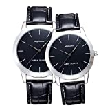shifenmei Valentine's Romantic His and Hers Quartz Analog Wrist Watches for Couple Waterproof, Men and Women Lightweight Leather Strap Watches Gifts Set for Lovers Set of 2 (Couple) Fathers Day Gifts