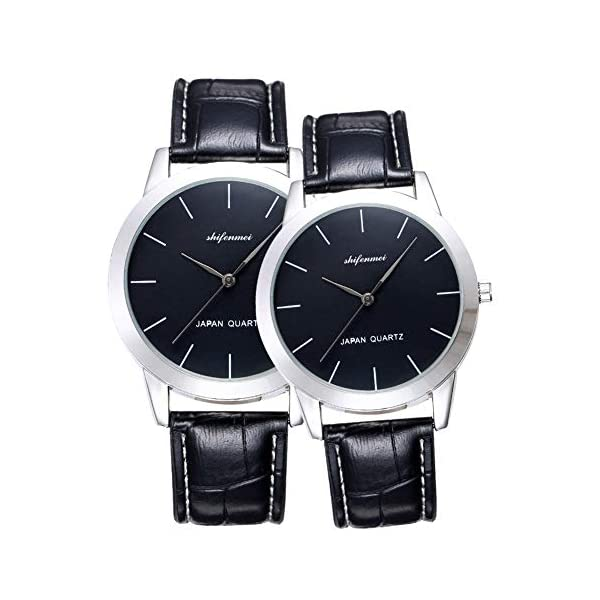 shifenmei His and Hers Quartz Analog Wrist Watches for Couple, Valentine's Romantic Lovers Watch for Men and Women Leather Strap Minimalist Watches Gifts Set for Lovers Set of 2