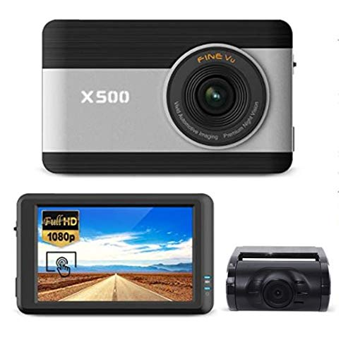 "FineVu X500 Dash Cam, Front and Rear Full HD 1080P, 3.5"" Touch Screen IPS, Hardwiring Cable,..."