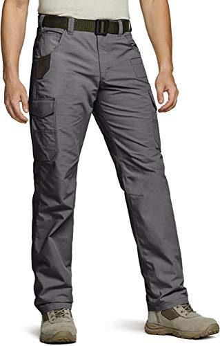CQR Men's Ripstop Work Pants, Water Repellent Tactical Pants, Outdoor Utility Operator EDC Straight/Cargo Pants, Work Cargo Charcoal, 38W x 30L