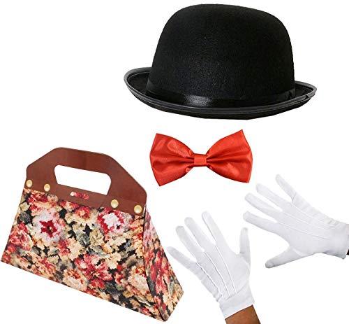 """ILOVEFANCYDRESS Set Costume da Tata Edwardian Magico - Bombetta Cappello Costume Personaggio della Settimana del Libro Film per Bambini Tata Magica (22""""/55CM)"""