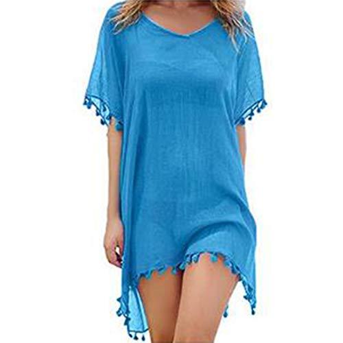 JMITHA Damen Strandponcho Sommer Strandkleid Sommerkleid Bikini Badeanzug Cover Up (One Size(XS-2XL), Hellblauer Kaftan Tassel)