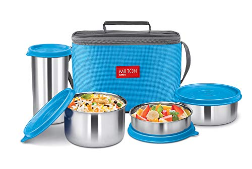 Milton Delicious Combo Steel Insulated Tiffin, Set of 4, Blue