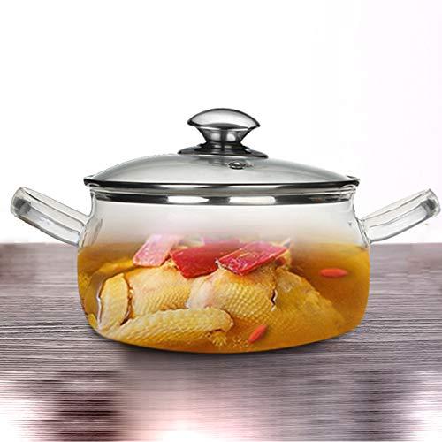 YHSW Olla de Vidrio Transparente,Cacerola,Resistente al Calor,con Tapa,Resistente a Altas temperaturas,Cocina de...