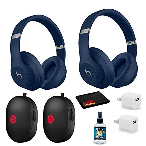 Beats by Dr. Dre Studio3 Wireless Bluetooth Headphones (Blue/Core) 2 Pack Kit with USB adapters