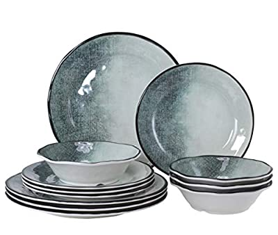 Gufaith Melamine Dinnerware Sets for 4,Thanksgiving Dinnerware,Plates and Bowls Sets for 12, Strong and Unbreakable, Dishwasher Safe, BPA free, Linen Finish Texture. (12)