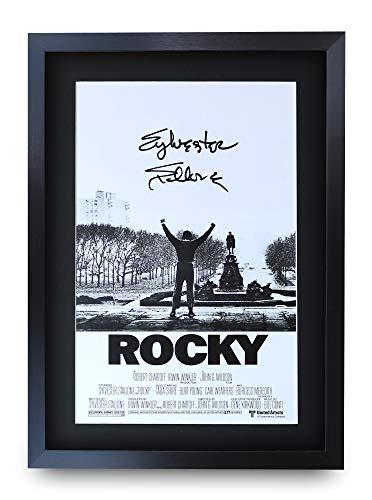 HWC Trading Rocky A3 Gerahmte Signiert Gedruckt Autogramme Bild Druck-Fotoanzeige Geschenk Für Sylvester Stallone Filmfans