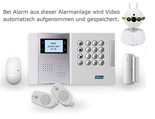 LGtron GSM Profi Funk Alarmanlage LGD8003P, 868MHz Rolling Code Verschlüsselung, mit P2P WLAN WIFI Innenkamera, bei Alarm Push-Infomation e-Mail mit Foto senden und Video automatisch aufnehmen, eine ideale Ergänzung zur Alarmanlage, sofort live beobachten und hineinhören/sprechen