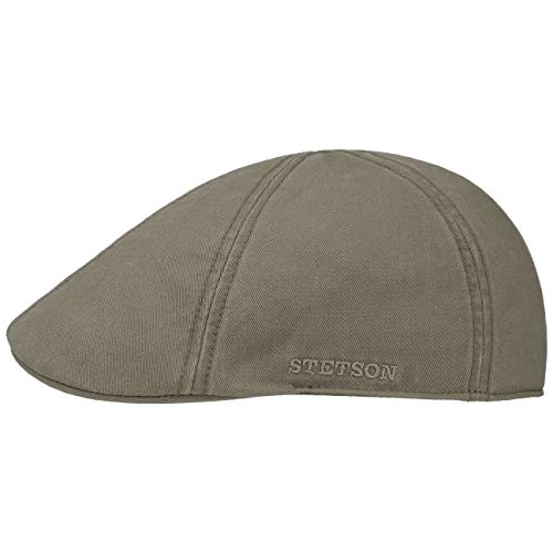 Stetson Texas Cotton Flatcap mit UV Schutz 40+ - Schirmmütze aus Baumwolle - Unifarbene Mütze Frühjahr/Sommer Oliv L (58-59 cm)