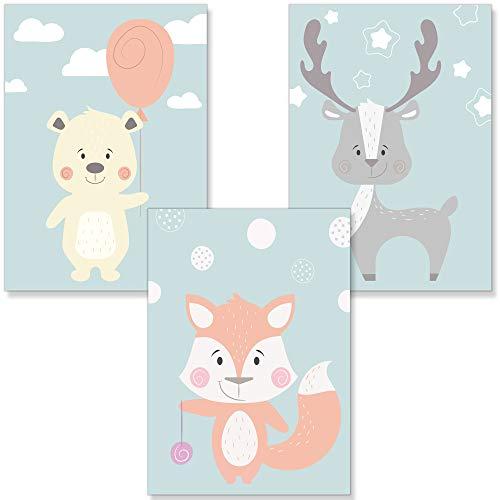 PREMYO Cuadros Infantiles para Habitación Niños Niña - Láminas Decorativas para Enmarcar - 3 Póster Animales DIN A4