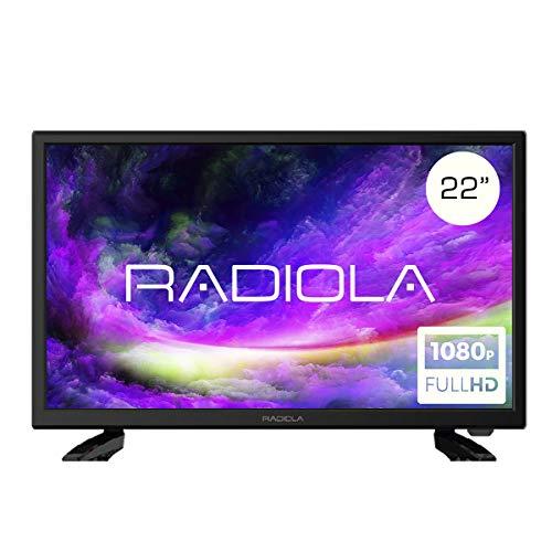 Televisor Led 22 Pulgadas Full HD 12V, Radiola LD22100K. Especial Caravana, Resolución 1920 x 1080P, HDMI, VGA, USB Reproductor y Grabador, Color Negro
