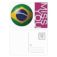 ブラジル国旗サッカーワールドカップ ポストカードセットサンクスカード郵送側20個ミス