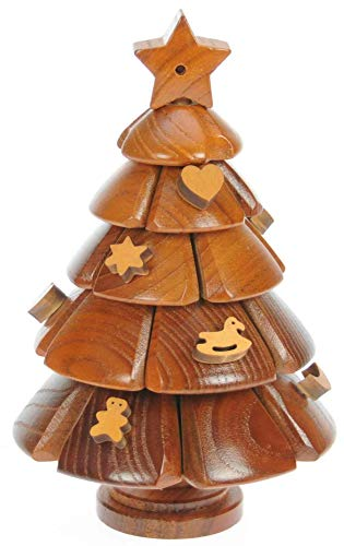 Namesakes Christmas Tree 3D Wooden Jigsaw Puzzle for Adults & Kids. Novelty Brain Teaser & Festive Ornament!