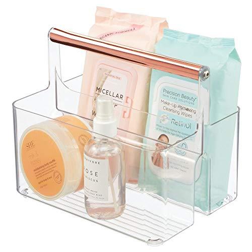 mDesign Caja organizadora para Cuarto de baño – Cesta con asa para el Almacenamiento de Productos cosméticos – Organizador de baño con 2 Compartimentos – Transparente y Dorado Rosado