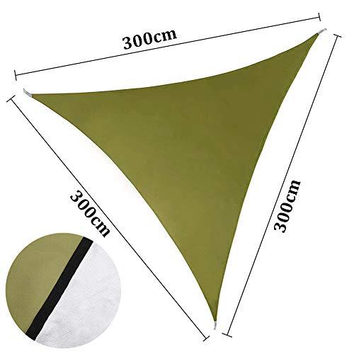 ENCOFT Toldo Vela de Sombra para Exteriores, Vela Solar Triangular Impermeable Protección Rayos UV Resistente para Patio Jardín Terraza, 3x3x3m Verde