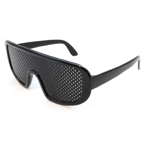Raster-Brille/Loch-Brille für Augen-Training und Entspannung im 2er Set, Gitter-Brille mit faltbaren Bügeln, Form D, Farbe: schwarz