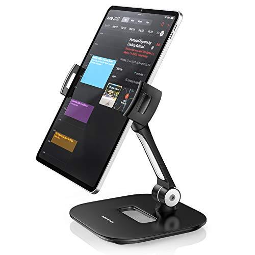 "AboveTEK Stylish Aluminum Tablet Stand, Cell Phone Stand, Folding 360° Swivel iPad iPhone Desk Mount Holder fits 4-11"" Display Tablets/Smartphones for Kitchen Bedside Office Table POS Kiosk Showroom"