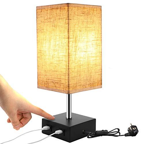 Lightess Tischlampe E27 Touch Dimmbar Modern Retro Nachttischlampe mit USB Anschluss Tischleuchte Vintage mit E27 Glühbirne Warmweiss für Schlafzimmer Wohnzimmer Tisch Kinderzimmer mit EU Stecker