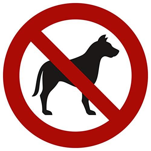 10 Stück Hunde verboten Aufkleber Ø 9,5cm Sticker mit UV Schutz für Außenbereich Innenbereich