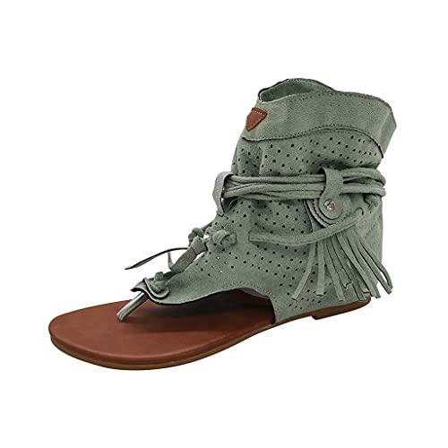 Sandalias Mujer Verano Nuevo 2021 Planas Retro Moda Sandalias de Vestir Playa Chanclas para Mujer Borla Flip flop Zapatos Sandalias de Punta Abierta Roma casual Sandalias Fiesta Cómodo Vacaciones