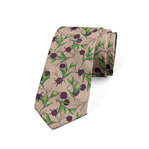 Tcerlcir Corbata Para Hombre, Hojas De Té Y Gotas De Pintura, Color Ciruela Y Verde Lima, Corbata Clásica De Negocios De Poliéster Para Boda