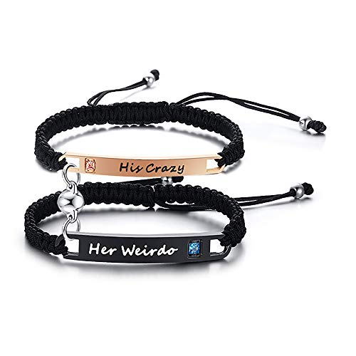 VNOX 2PCS Mutual Attraction Handmade Rope Braided Couple Distance Bracelets Crazy & Weirdo Eternal Love with Magnetic Bells Gift Jewelry Set for Women Men,Christmas/Valentine's Day/Birthday Gift