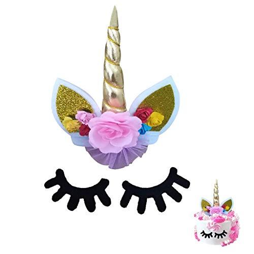Amycute Kuchen Topper Einhorn, Kuchendeko Einhorn Cake Topper, Ohren und Wimpern Set Kuchen Deko,Einhorn Party Dekoration für Willkommensparty, Hochzeit und Geburtstag.